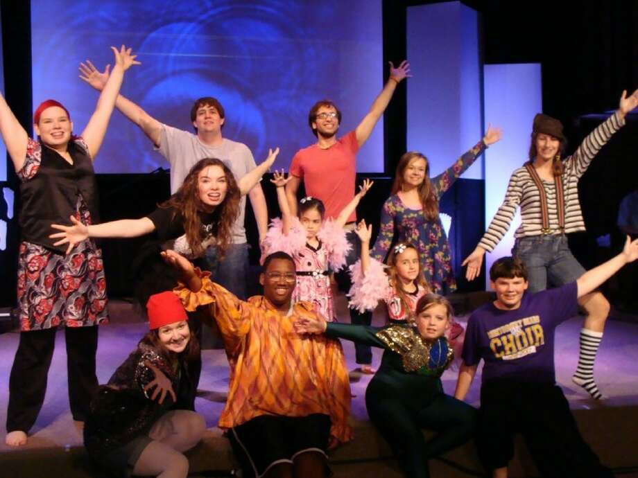"The cast of NorthWood School of Arts' ""Godspell"" production. The show is being staged at First Baptist Church Conroe June 15-17. Pictured are, back row, left to right, Kevin Smith, 20 and Cameron Carnley, 20. Middle row from left, Carly Orr, 15; Abby Orr, 15; Lily Taylor, 8, Aden Schill, 8; Layla Murray-Schroeder, 18 and Lauren Holtkamp, 13. Bottom row from left, Jessica Knox, 17; Cushon Holmes, 18; Claire Orr, 10 and Christopher Orr, 14."