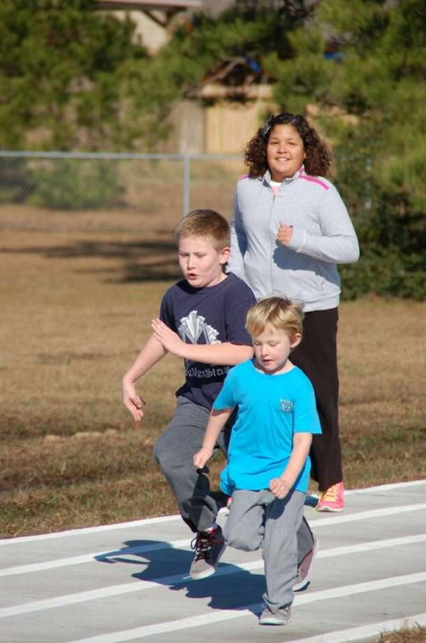Students try out the new track at Mueller Jan. 11.