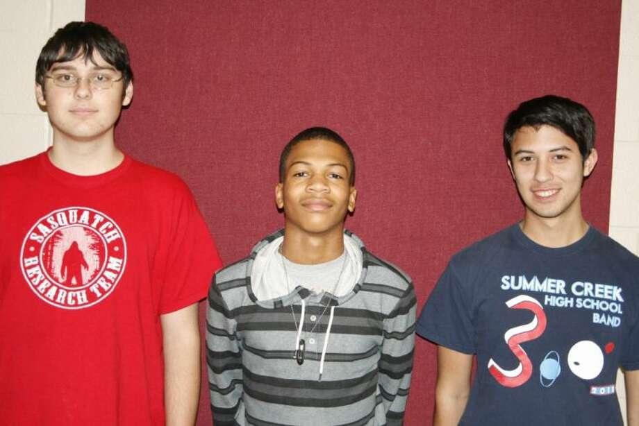 Band students Daniel Glasscock, Nelson Armstrong and Michael Hernandez are members are Summer Creek High School Band and will perform with the Texas All-State Band in San Antonio Feb. 15 as a part of the 2014 Texas Music Educators Association Clinic/Convention.