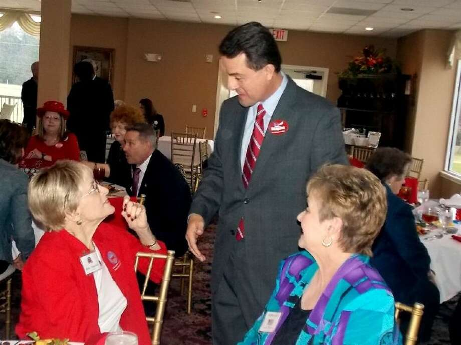 Todd Staples (left), commissioner of agriculture, speaks with members of the Montgomery County Republican Women during their monthly luncheon at River Plantation Country Club. Both Staples and Sen. Dan Patrick appeared at the event to speak about their candidacy for Lt. Governor.