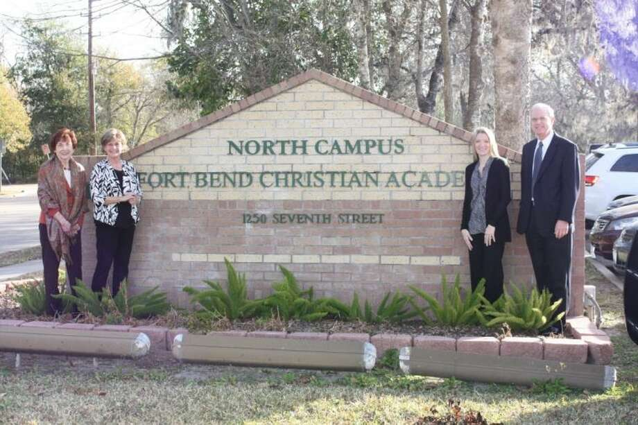 Charlene Pate, capital campaign co-chair for the Fort Bend Children's Discovery Center (far left) joins (l. to r.) Pam Jacobsen, director of public relations for Fort Bend Christian Academy, Rachel Leaman, capital campaign co-chair for the museum, and Michael Emmons, interim head of school/CFO of Fort Bend Christian Academy. Photo: Submitted Photo