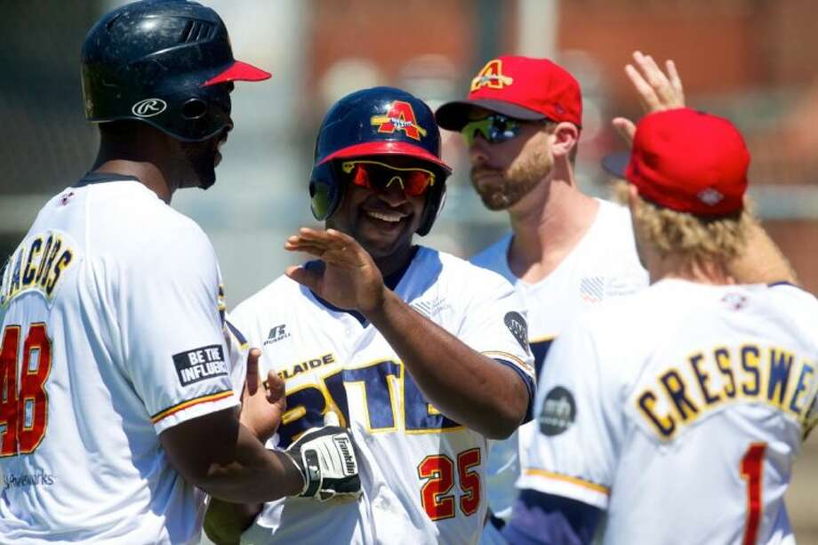 BYRON WILEY - Action from the 12th Round Match of the 2013/2014 Australian Baseball League between Adelaide Bite and Sydney Blue Sox played at Norwood Oval, Adelaide, South Australia, on Saturday, Jan. 18. Photo: Ryan Schembri