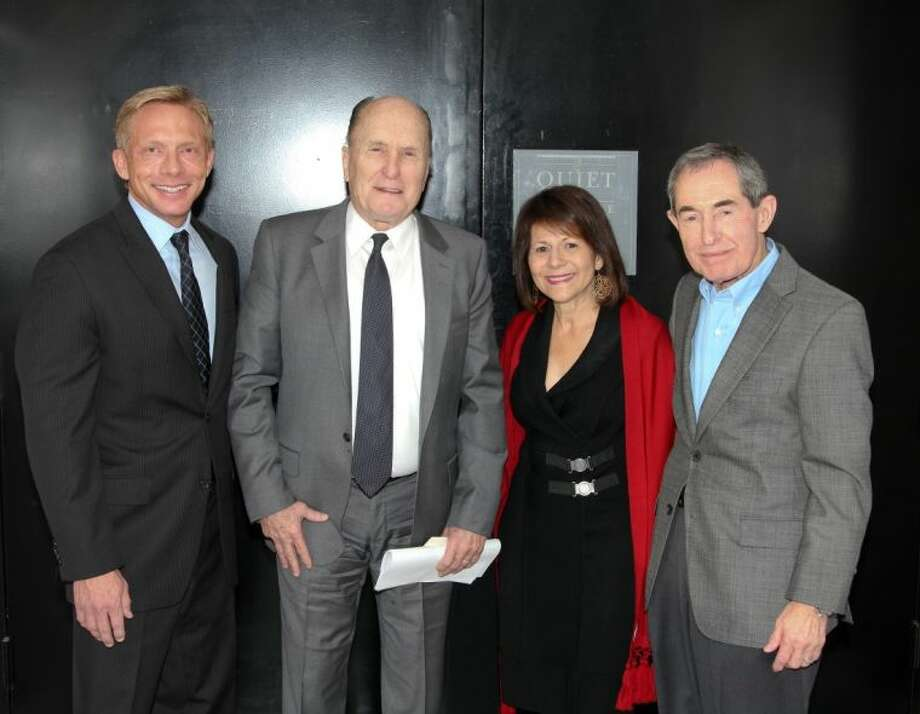 From left are Brilliant Lecture Series founder and CEO Scott Brogan, actor Robert Duvall and River Oaks residents Olivia and Robert Pacini.