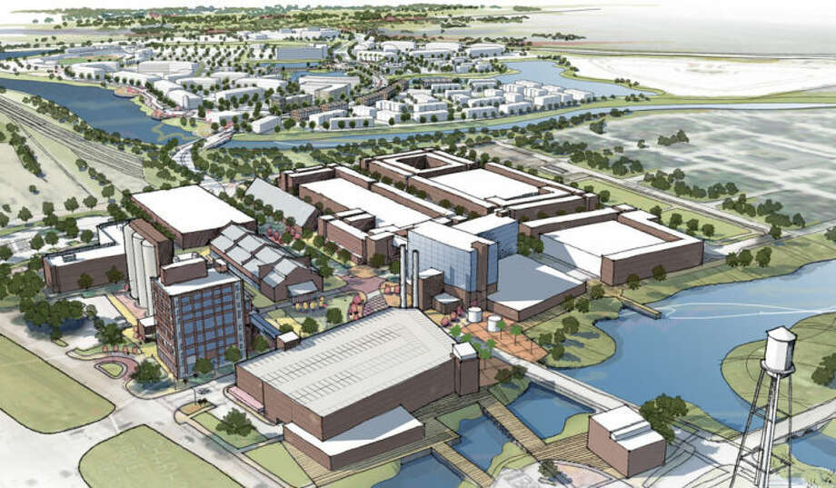 A computer rendering of the finished Imperial Redevelopment project, a 700-acre master-planned community located at the northeast corner of State Highway 6 and U.S. Highway 90A.