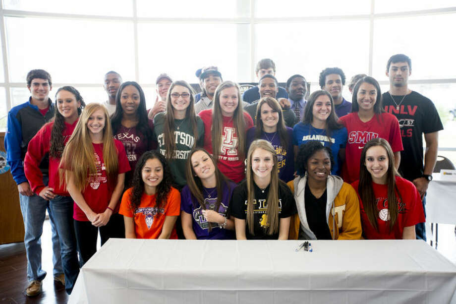 Humble ISD had 24 student-athletes sign with colleges on Wednesday. Photo: ANDREW BUCKLEY