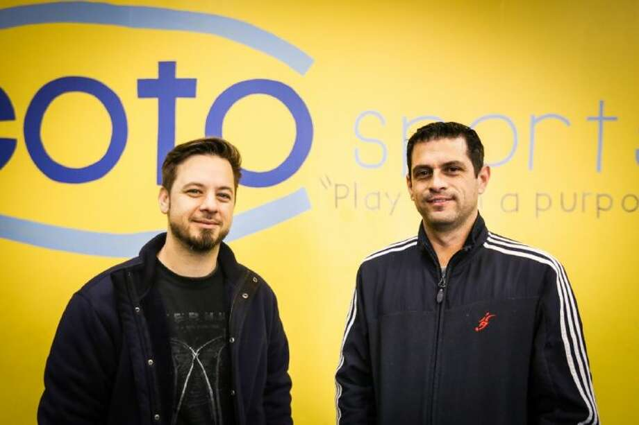 Coto Sports co-owners coach Kris, baseball director, left, and coach Marc, soccer director, right, are pictured on Wednesday, Feb. 5, 2014, at Coto Sports off of State Highway 249. Photo: Michael Minasi