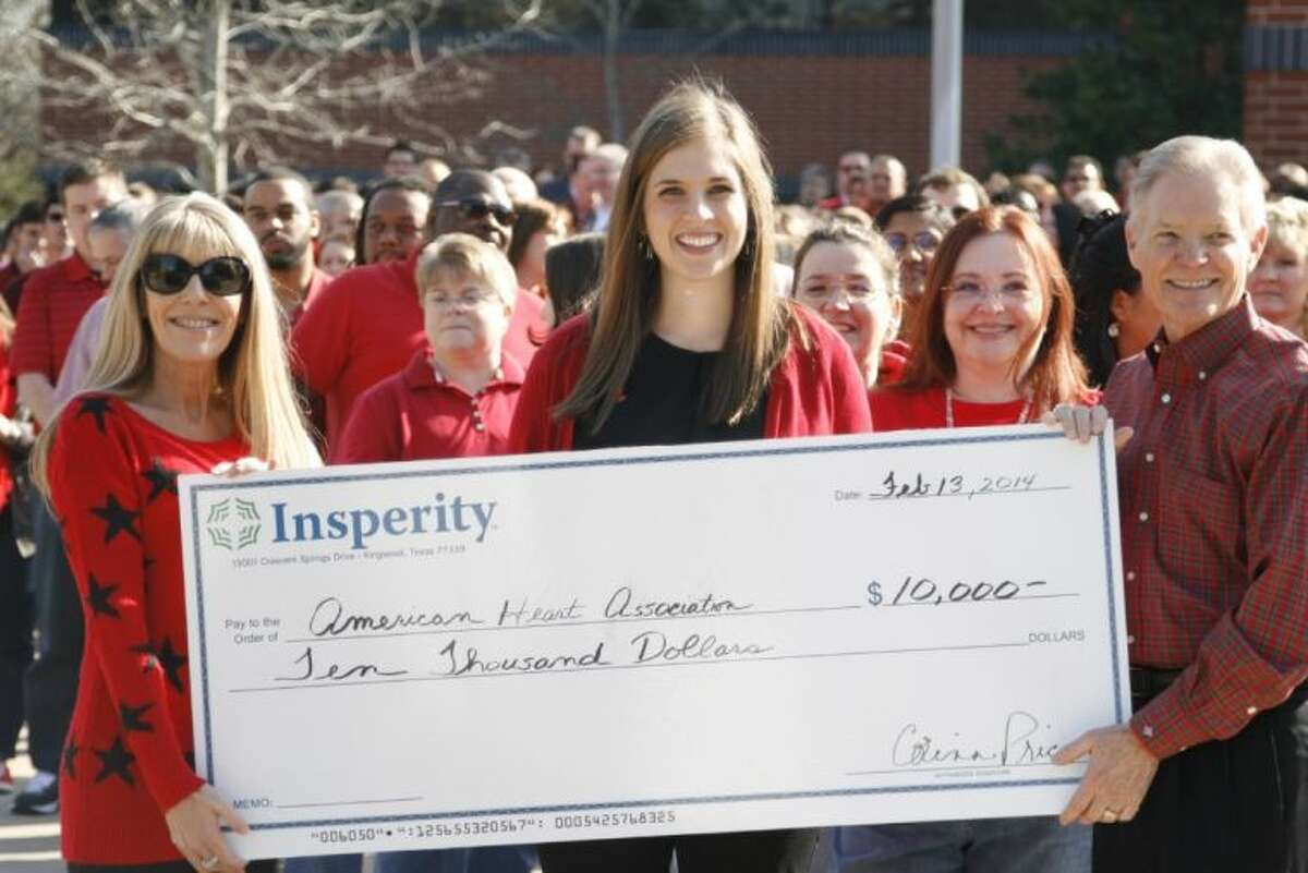 From left, Corinn Price, Insperity Director of Community Involvement; Abby Ainsworth, American Heart Association Development Specialist, Greater Lake Houston and Jay Mincks, Insperity Executive Vice President of Sales and Marketing during the check presentation of $10,000 from Insperity to the American Heart Association Feb. 13, 2014.