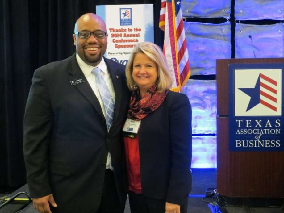 Keri Schmidt with Aaron Cox, vice president of chamber relations with The Texas Association of Business.
