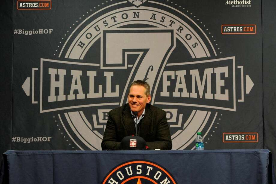 Craig Biggio addresses the media following the announcement the former Astro will be first into the Hall of Fame to don the Astros cap.