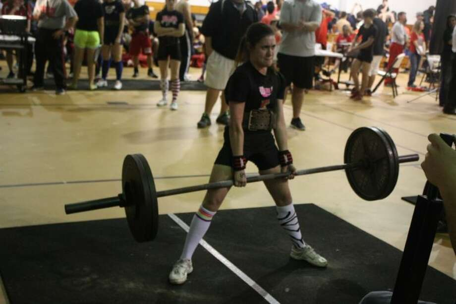 Kyra Rodriguez displays her ability to deadlift 225 lbs., more than twice her own body weight.