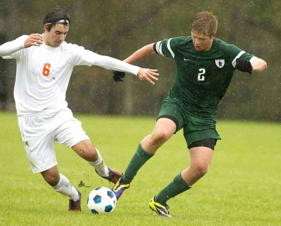 The Woodlands' Taylor Burnette looks to control the ball Friday against Brandeis in the Kilt Cup.