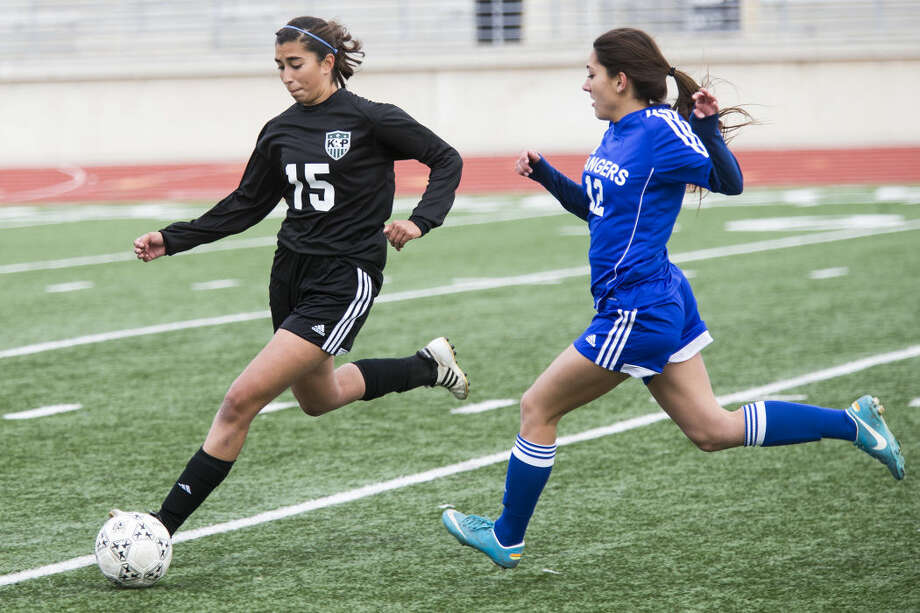 Kingwood Park's Caroline Valadez (15) recovers a loose ball during the Panthers' 3-1 loss to Baytown Sterling in the first round of the HISD Women's Soccer Invitational on Jan. 8, 2014, at Turner Stadium. Photo: ANDREW BUCKLEY