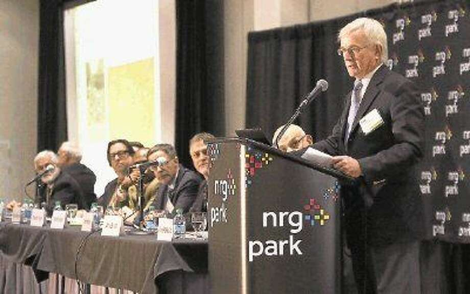 Tom Murphy, of the Urban Land Institute, former Mayor of Pittsburgh, PA speaks on the Astrodome at NRG Park in Houston on December 19, 2014. Photo: Staff Photo By Alan Warren