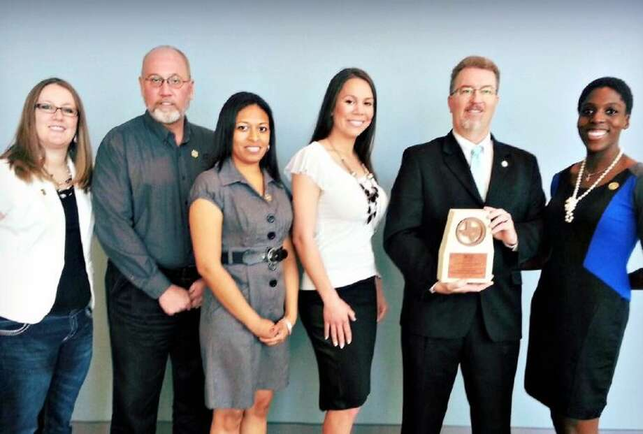 Pictured (L-R) during the awards presentation in Corpus Christi were T.E. Harman Center Manager Samantha Foster, Assistant Director of Parks and Recreation Chris Mobley, Administrative Supervisor Jessica Luna, Administrative Manager Tanya Dannhaus, Browne and Recreation Programs Coordinator Kiah Crosby.