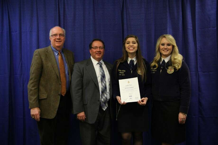Caitlin Lakey of Kingwood Park FFA was one of nine outstanding graduates of the Texas FFA Association's Ford Leadership Scholars program recognized at the fifth annual Ford Leadership Scholars Banquet in Austin.