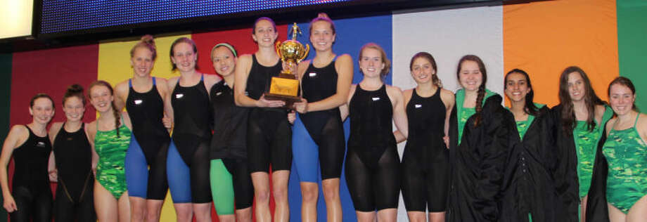 The John Cooper School girls swimming team won their fifth consecutive SPC title over the weekend. Photo: Courtesy Photo