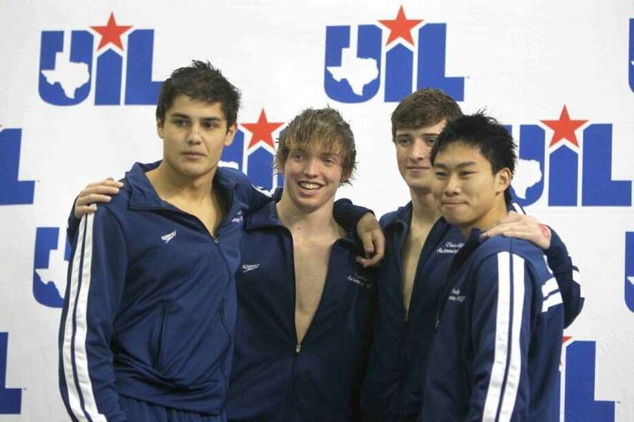 Jonathan Drewes, Jonathan Marlatt, Alexander Nork and Colin Hwang finished second in the Class 5A boys 200-yard medley relay finals Feb. 22 at the UIL Swimming and Diving State Championships in Austin. Visit HCNPics.com for more photos. Photo: Jason Fochtman