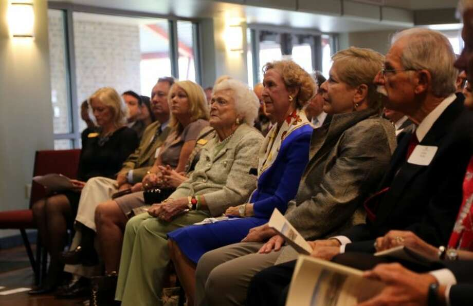 Former First Lady Barbara Bush (center) at last week's dedication ceremony at the Monarch Institute. Photo: Rusty Graham