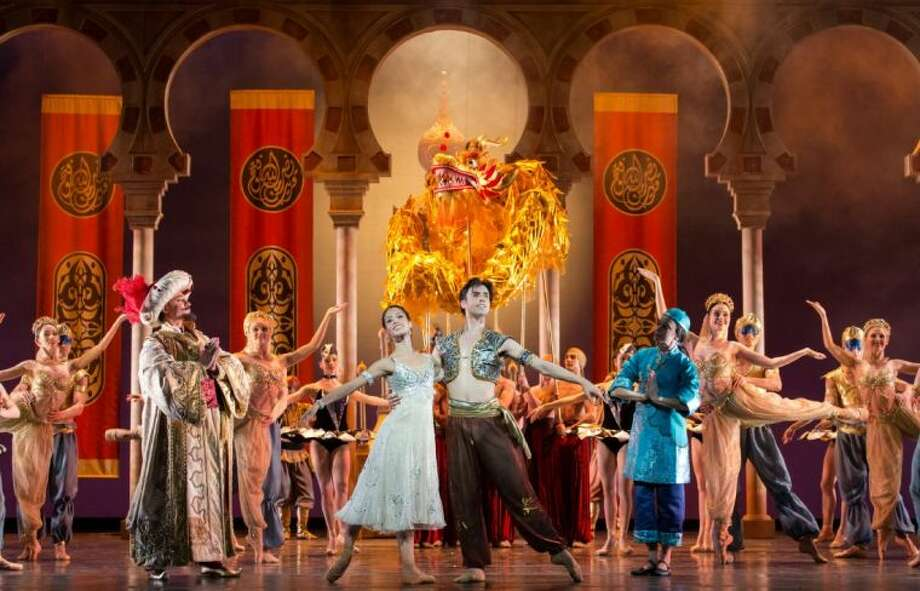 """Karina Gonzalez, Joseph Walsh and artists of Houston Ballet in """"Aladdin,"""" which is on stage through the Houston Ballet through March 2."""