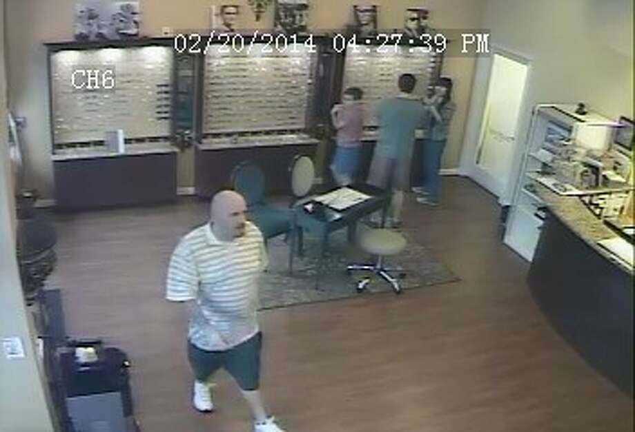 The surveillance footage of the man wanted for the theft of high-end sun glasses at a Katy Vision One Eye Center on Feb. 20. Photo: Courtesy Fort Bend County Crime Stoppers