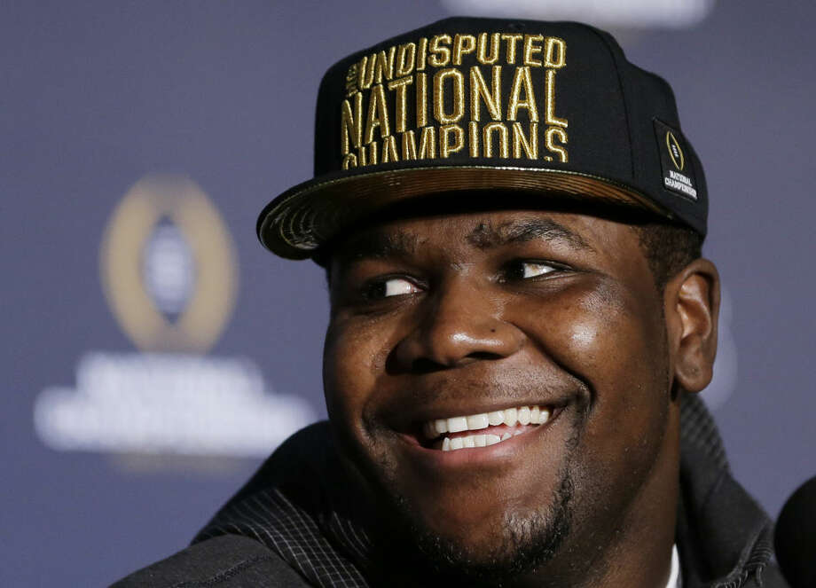 Ohio State's Cardale Jones reacts to a question during a news conference after the NCAA college football playoff championship game Tuesday, Jan. 13, 2015, in Dallas. Ohio State defeated Oregon 42-20 on Monday. Jones was names the offensive player of the game. (AP Photo/David J. Phillip) Photo: David J. Phillip
