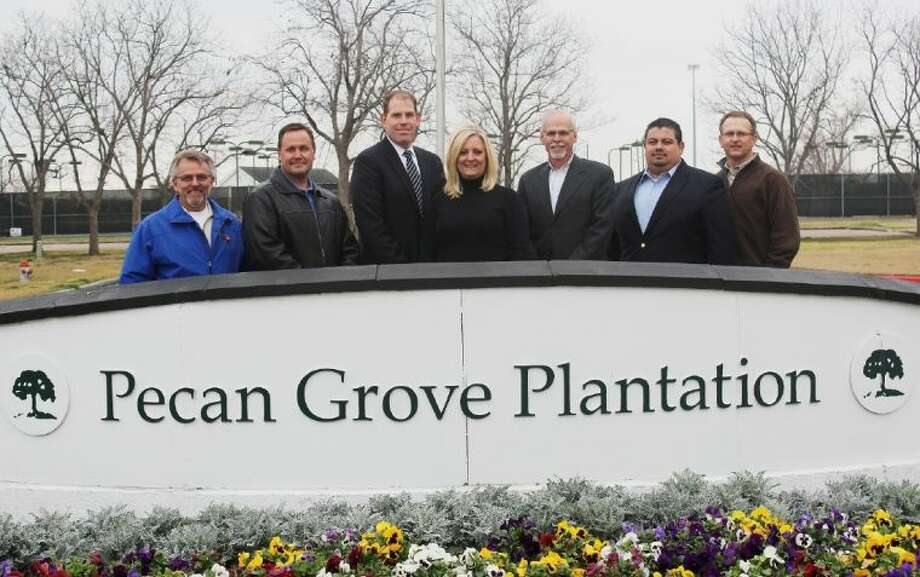 From left: Ron Ewer, Legacy Ford; Gary Finnegan, Finnegan Auto Group; Chris Anderson, Fort Bend Toyota; Shanta Kuhl, Central Fort Bend Chamber; Virgil Skinner, Fort Bend Kia; Aldo Cortes, Gillman Honda of Fort Bend and Jeff Haley, Si Environmental.