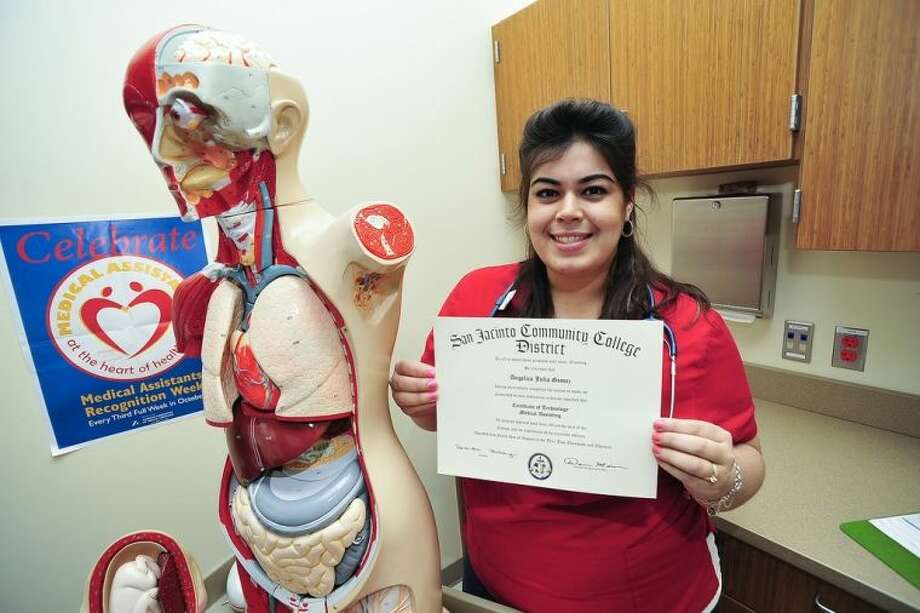 Within a month after earning a medical assisting certificate from San Jacinto College, Angelica Gomez found a job at a local clinic. Photo credit: Rob Vanya, San Jacinto College marketing, public relations, and government affairs department.