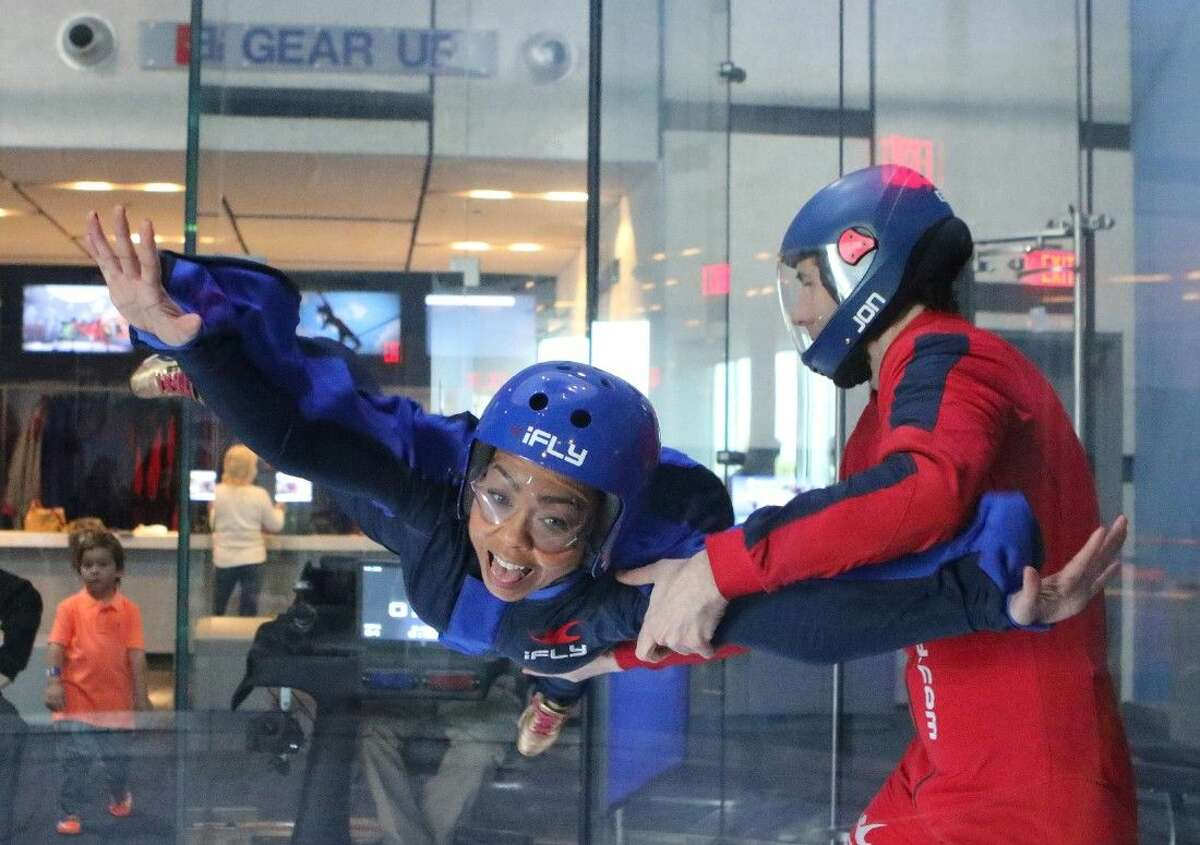 Nikki Griffin flies with Chief Flight Instructor Jon Walker at iFLY indoor skydiving in Houston, Texas on Thursday, January 8, 2015.