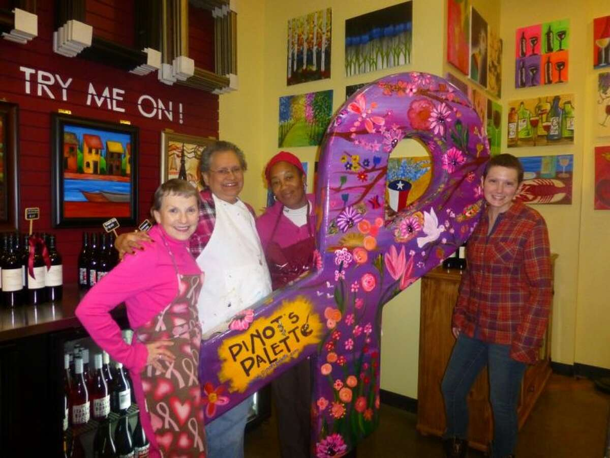 (Left to right) Rosemary Herron, Julia Kerner, Frances Arzu, and Tanya Breaux, breast cancer survivors at the MD Anderson Regional Care Center in Sugar Land, get ready for an evening of art at the February Breast Friends meeting held at Pinot's Palette in Sugar Land Town Square.