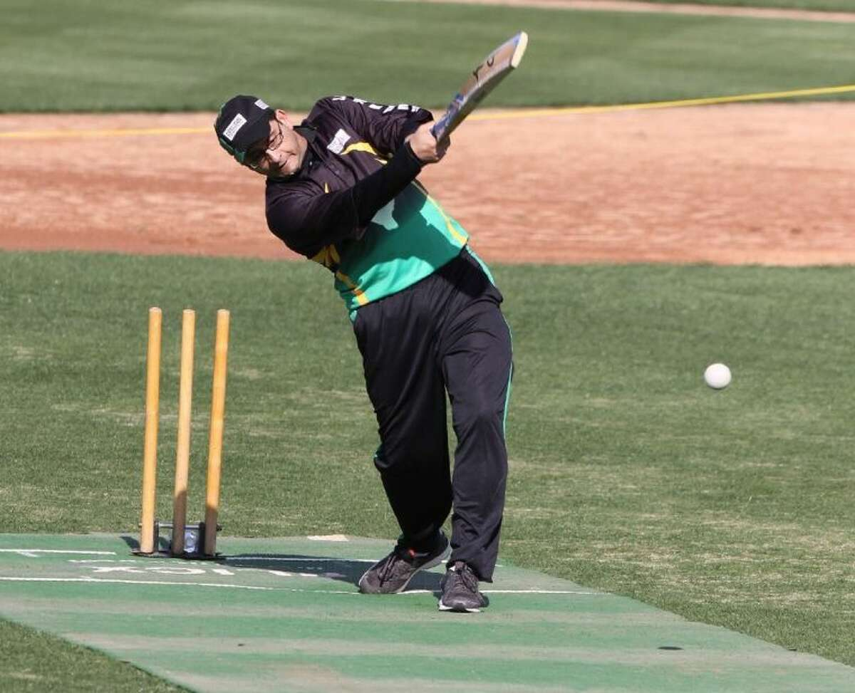 Memorial City Live Wires Captain Ranga Kandala hits the ball against Northwest Tsunami during cricket game at the Memorial Hermann Cricket Cup 2014 on Saturday, Feb. 22, at Constellation Field in Sugar Land.