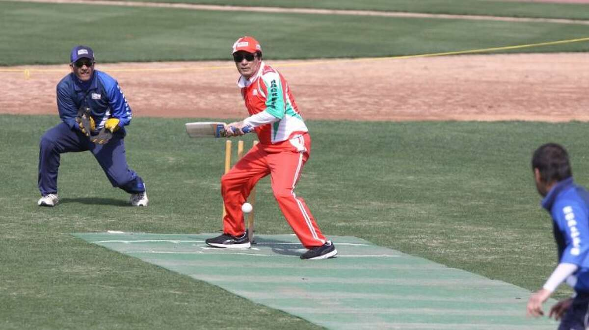 Southeast Rockets Aslam Loya hits against Southwest Scalpels during cricket game at the Memorial Hermann Cricket Cup 2014 on Saturday, Feb. 22, at Constellation Field in Sugar Land.