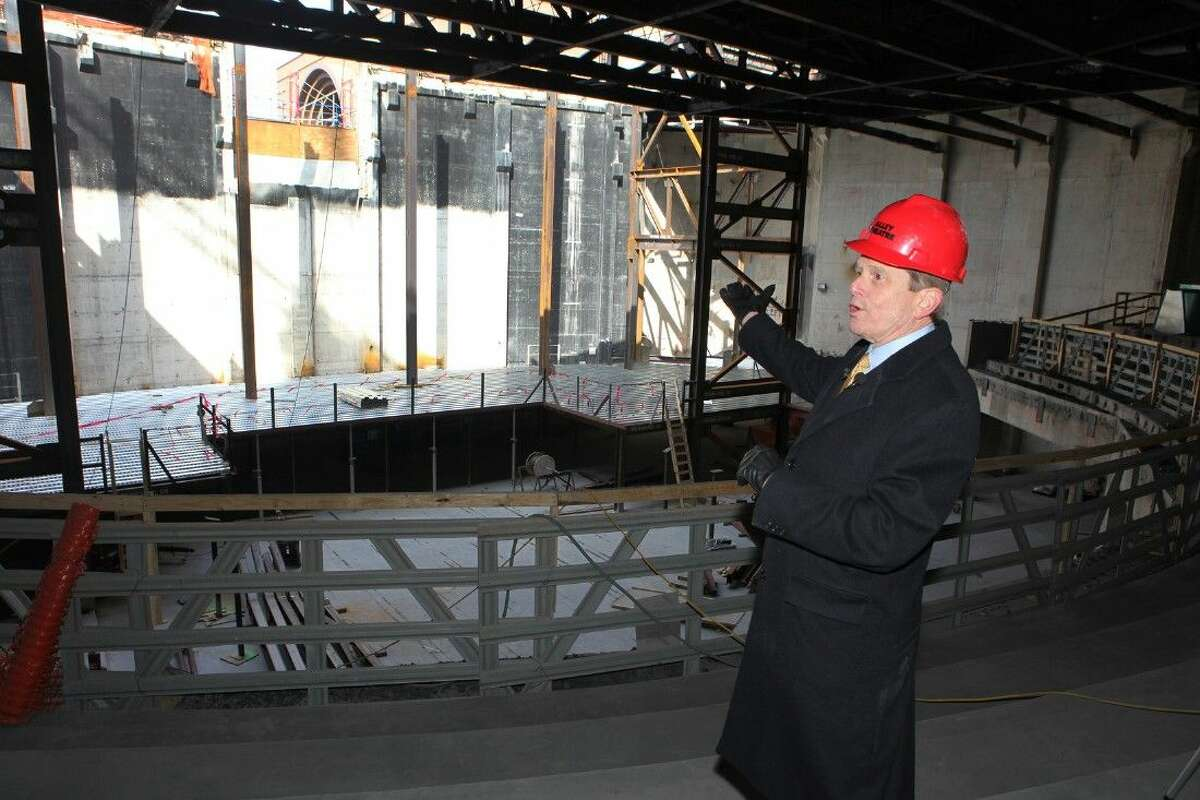 Dean Gladden, Managing Director of the Alley Theatre inside the seating bowl looking towards the stage during a look at the 46.5 million ongoing renovation at the Alley Theatre in Houston, Texas on Thursday, January 8, 2015.
