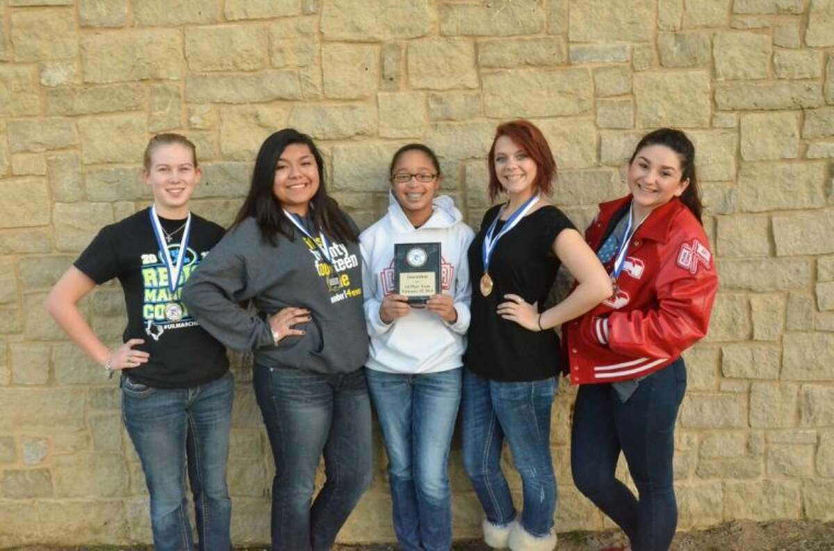 The Crosby High School UIL journalism team took first place out of 32 teams at a meet in Needville.From left, Alyssa Meyer, Shirly Elias, Rebekah Carter, Kaykay Thomas and Alex Marroquin.