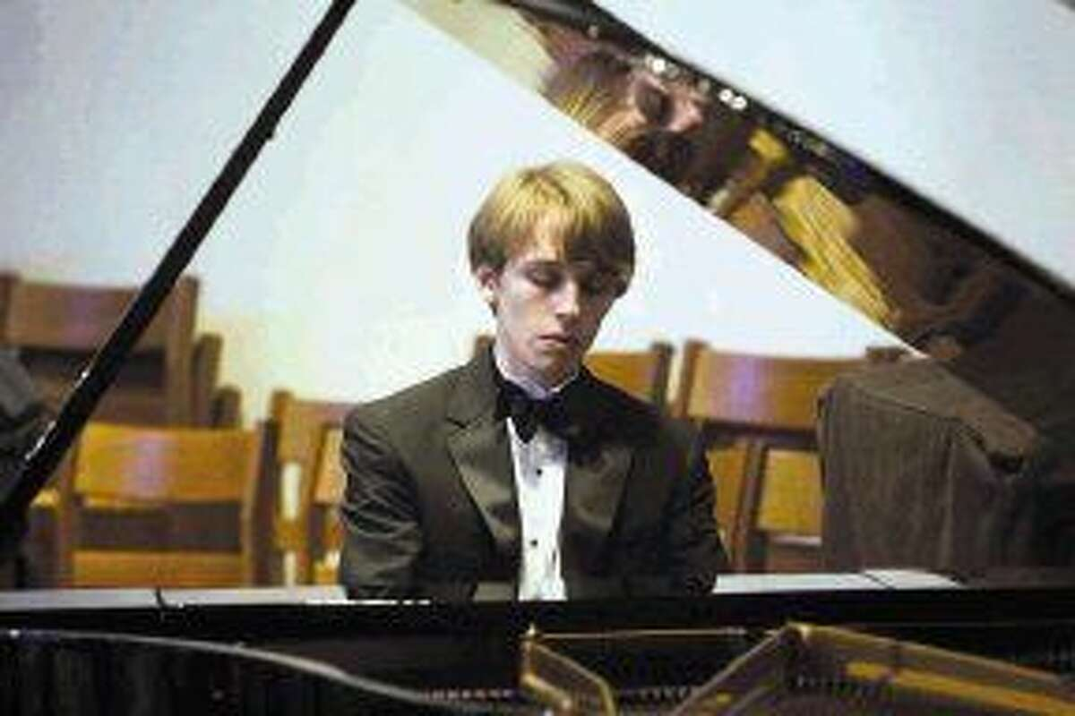 Noah Alden Hardaway at the piano for the Music Doing Good with Scholarships concert,