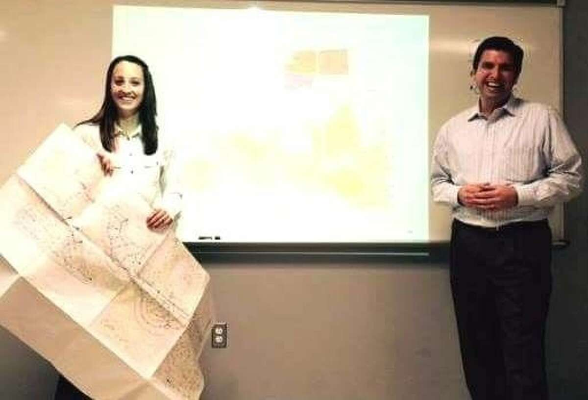 Former SHS graduate Amber Cherry, along with fellow civil engineer Jonathan Unterreiner, spoke to students to give them some insight into their career field.