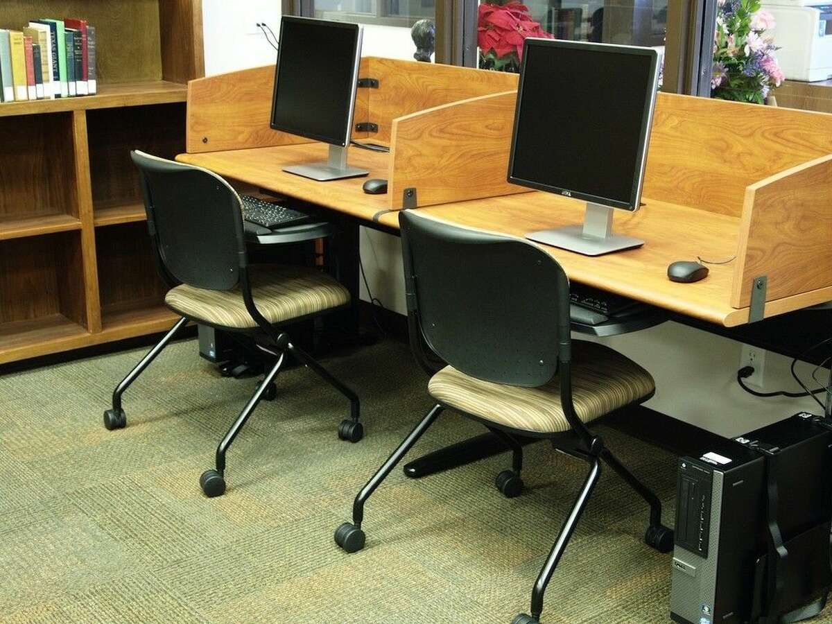 Public access terminals, new desks, tables, and chairs were part of the recent remodel at the Sam Houston Regional Library and Research Center.