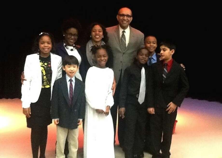 Superintendent of Schools Charles Dupre joined students and staff at Quail Valley Elementary School at their Black History Month tribute. He is shown with (front row, from left) students Dan Tran, Amayla Wilson, Braden Davis, Uzair Ahmed; and (back row) student Kennedy Arnold, fourth-grade teachers Ramesha Haskins and Tawanna Evans and student Matthew Thompson.