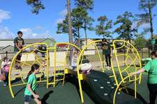The centerpiece of Stay and Play at Little Cypress Intermediate School is the Large Triumph Climber. The playground was constructed to accommodate special needs children.