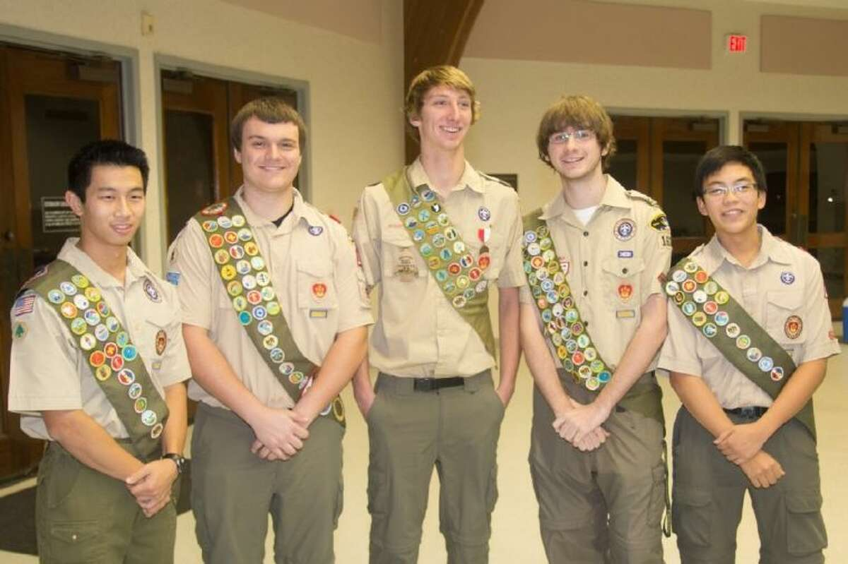 Pictured (from left) are Scouts Michael Wang, Kyle Tollestrup, Zach Saunders, Trey Gifford, and Daniel Ngo.