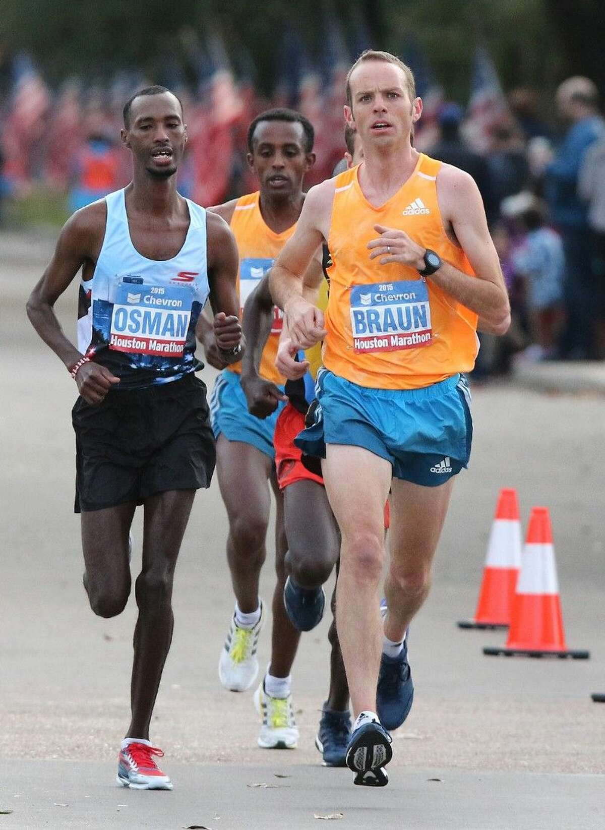 Aaron Braun, first American finisher, runs along University Boulevard in the 2015 Chevron Houston Marathon in Houston, Texas on Sunday, January 18, 2015. To view or purchase this photo and others like it, go to HCNPics.com.