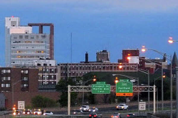 A view of the downtown Bridgeport skyline. A new report by the Connecticut Conference of Municipalities illustrates the social and financial pressures on the state's major cities.