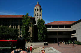 Students gather outside of the Cecil H. Green Library on the campus of Stanford University June 9, 2016 in Stanford, Calif. University police are investigating a rape that occurred on campus early Friday.