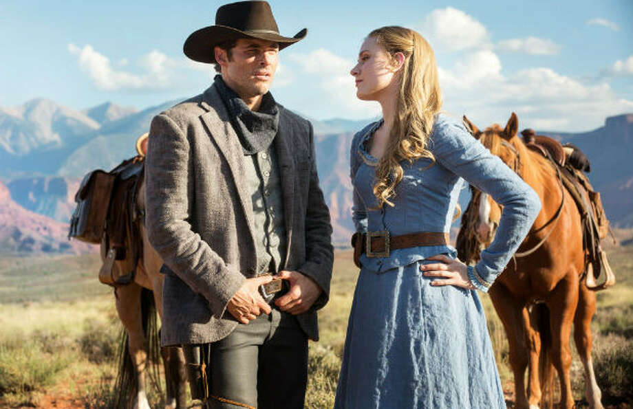 """Actors James Marsen, left, and Rachel Evan Woods in a scene from """"Westworld."""" George R.R. Martin, author of """"A Song of Ice and Fire"""" spoke with the showrunners of """"Westworld"""" about a possible crossover show."""