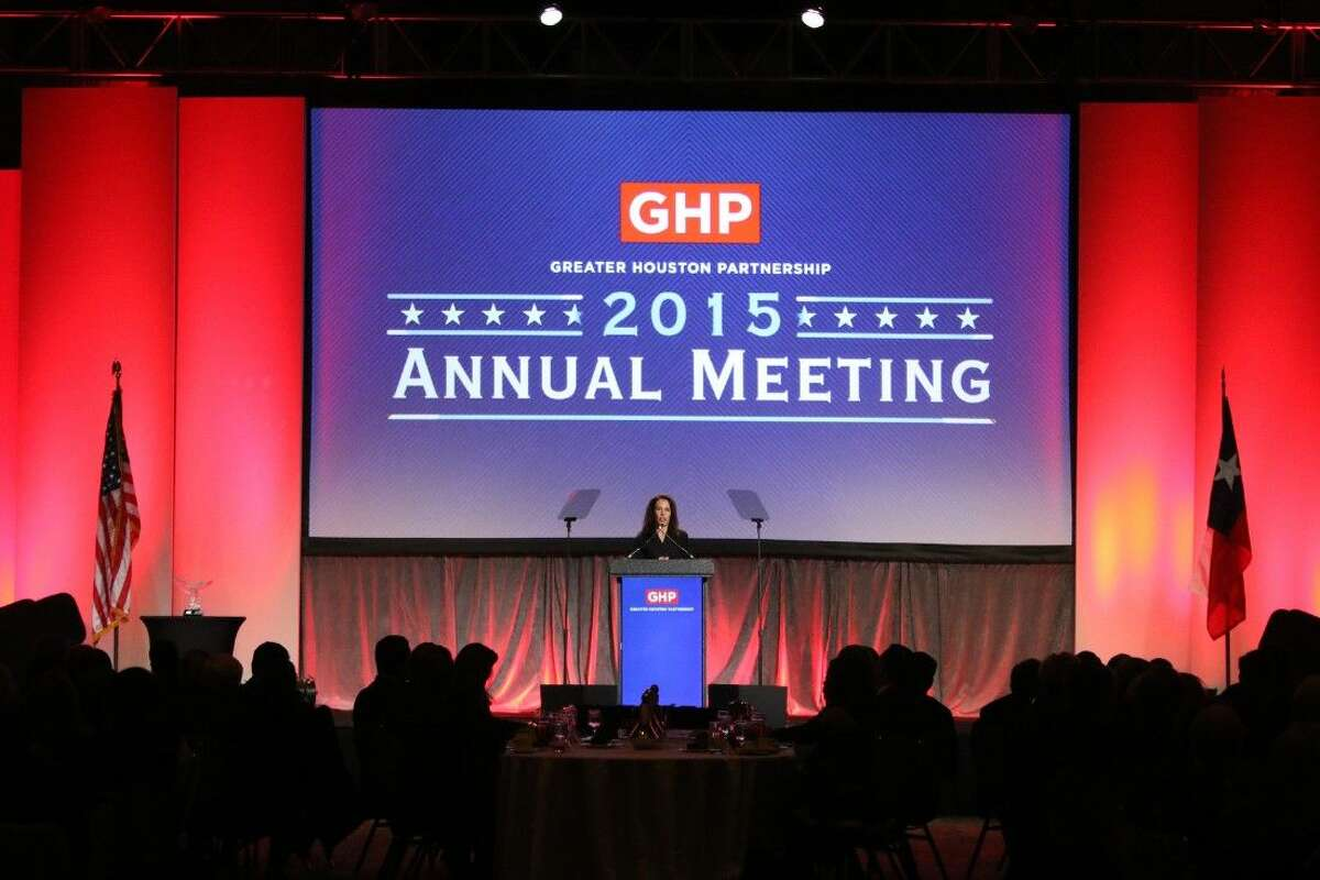 Gina Luna, the 2015 inconming chair, gives outline plans for the year ahead at the Greater Houston Partnership 2015 annual meeting at the Hilton Americas in Houston on Thursday, Jan. 15.
