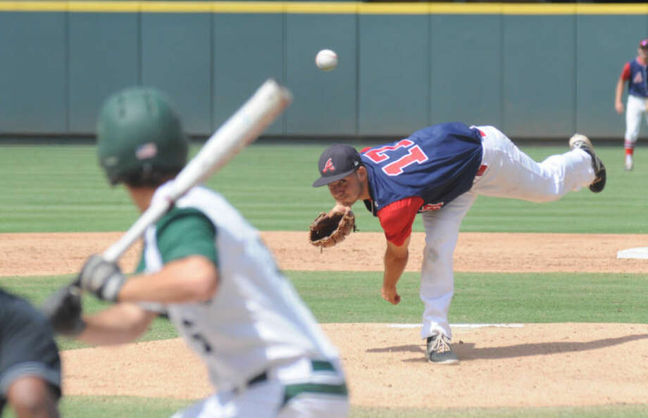 Atascocita's Anthony Pagano throws a pitch against San Antonio Reagan in the Class 5A state semifinals at the Dell Diamond in Round Rock on Friday. Photo: Keith MacPherson