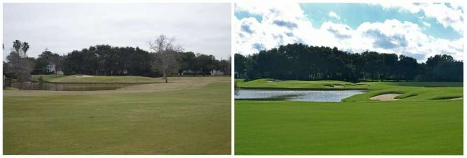 Sugar Creek Country Club's Trent Nine golf course, before (left) and after (right) renovations. Photo: Submitted Photo