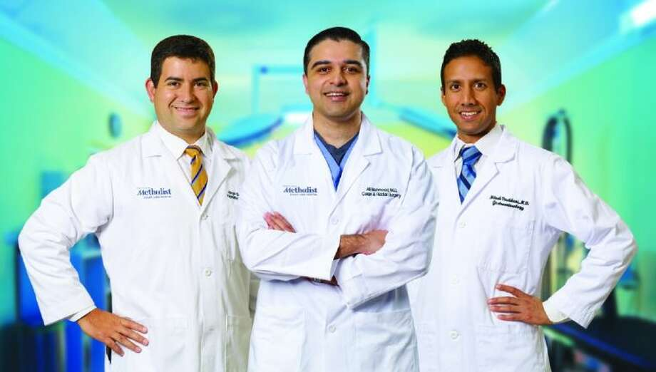 Dr. Jorge Darcourt, Hematologist/Oncologist; Dr. Ali Mahmood, Colorectal Surgeon and Dr. Nitesh Vachhani, Gastroenterologist. Photo: Photo Courtesy Houston Methodist