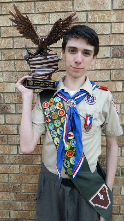 Noah Tekulve, a senior at Atascocita High School, was recently presented with his Eagle Scout Award after earning a record 34 Merit Badges.