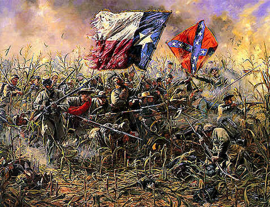 An artist's depiction of First Texas Regiment fighting at the Battle of Antietam, the deadliest single-day battle of the American Civil War - and in the entirety of American history.