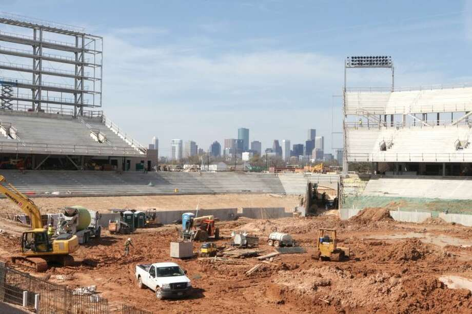 Northwest end of the Houston Football Stadium under construction on campus March 7. To view or purchase this photo and others like it, go to HCNPics.com. Photo: Alan Warren/HCN